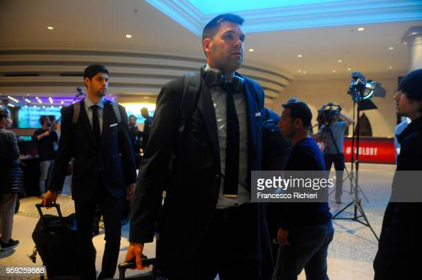 Felipe Reyes #9 of Real during the Real Madrid arrival to participate of 2018 Turkish Airlines EuroLeague F4 at Hyatt Regency Hotel on May 16 2018 in...