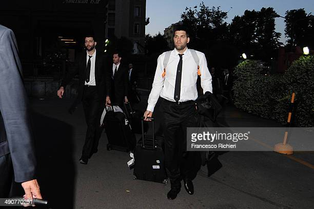 Felipe Reyes #9 of Real Madrid arrives at the Marriot Hotel Milan as part of Turkish Airlines Euroleague Final Four on May 14 2014 in Milan Italy