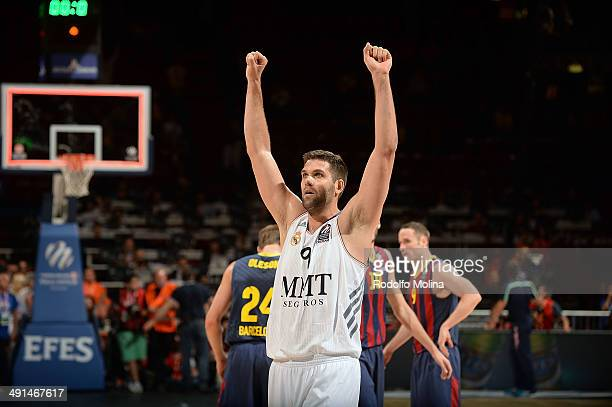 Felipe Reyes, #9 of Real Madrid celebrates after wining the Turkish Airlines EuroLeague Final Four Semi Final A between FC Barcelona vs Real Madrid...