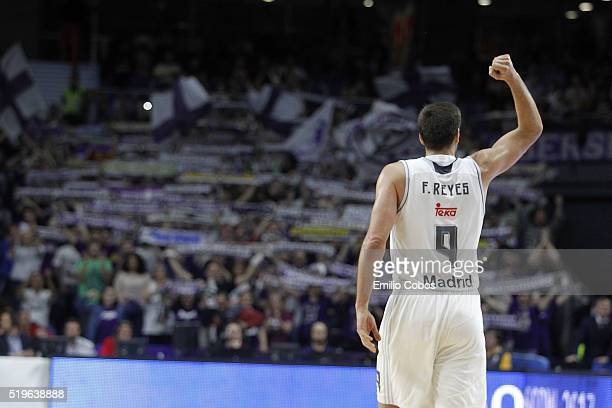 Felipe Reyes #9 of Real Madrid celebrates during the 20152016 Turkish Airlines Euroleague Basketball Top 16 Round 14 game between Real Madrid v...
