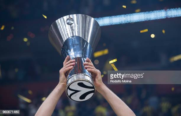 Felipe Reyes #9 of Real Madrid celebrates poses with Champion Trophy after the the 2018 Turkish Airlines EuroLeague F4 Championship Game between Real...