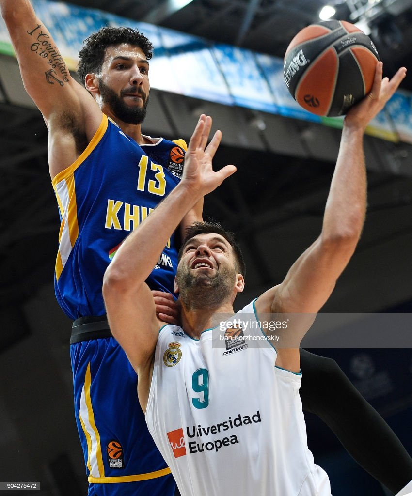 Felipe Reyes, #9 of Real Madrid competes with Anthony Gill, #13 of Khimki Moscow Region during the 2017/2018 Turkish Airlines EuroLeague Regular Season Round 17 game between Khimki Moscow Region and Real Madrid at Arena Mytishchi on January 12, 2018 in Moscow, Russia.