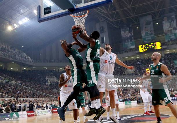 Felipe Reyes #9 of Real Madrid competes with James Gist #14 of Panathinaikos Superfoods Athens during the 2017/2018 Turkish Airlines EuroLeague...