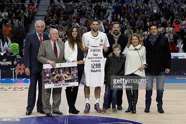 Felipe Reyes, #9 of Real Madrid during the Euroleague Basketball Top 16 Date 6 game between Real Madrid v FC Barcelona at Barclaydcard Center on...