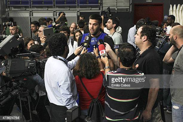 Felipe Reyes #9 of Real Madrid during the Real Madrid Practice at Turkish Airlines Euroleague Final Four Madrid 2015 at Barclaycard Center on May 16...