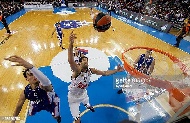 Felipe Reyes #9 of Real Madrid in action during the 20142015 Turkish Airlines Euroleague Basketball Regular Season Date 5 game between Anadolu Efes...