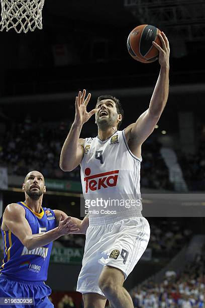 Felipe Reyes #9 of Real Madrid in action during the 20152016 Turkish Airlines Euroleague Basketball Top 16 Round 14 game between Real Madrid v Khimki...