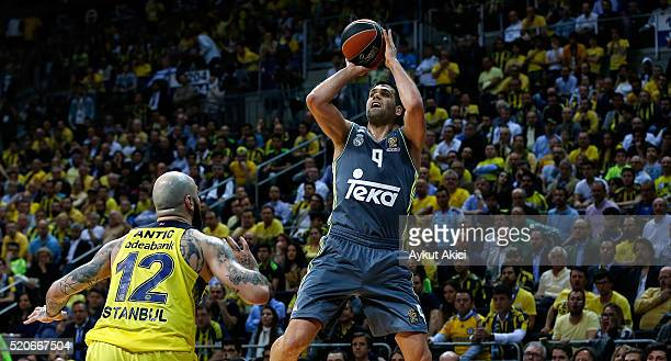 Felipe Reyes, #9 of Real Madrid in action during the 2015-2016 Turkish Airlines Euroleague Basketball Playoffs Game 1 between Fenerbahce Istanbul v...