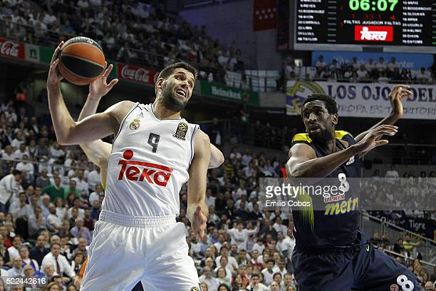 Felipe Reyes, #9 of Real Madrid in action during the 2015-2016 Turkish Airlines Euroleague Basketball Playoffs Game 3 between Real Madrid v...