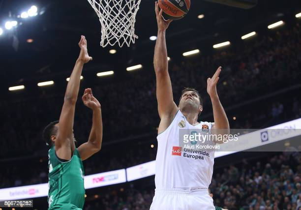 Felipe Reyes #9 of Real Madrid in action during the 2017/2018 Turkish Airlines EuroLeague Regular Season Round 4 game between Zalgiris Kaunas and...