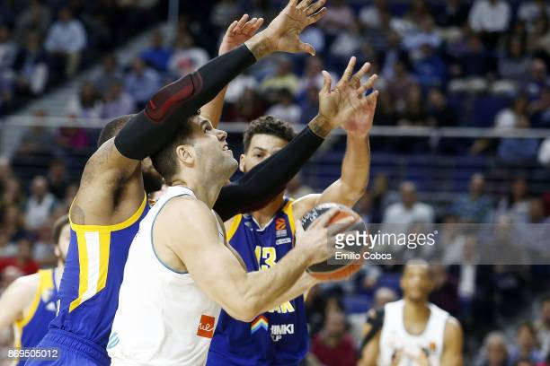 Felipe Reyes #9 of Real Madrid in action during the 2017/2018 Turkish Airlines EuroLeague Regular Season Round 5 game between Real Madrid and Khimki...