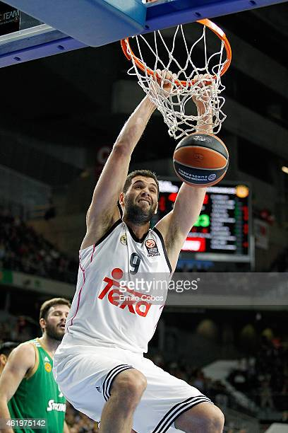 Felipe Reyes, #9 of Real Madrid in action during the Euroleague Basketball Top 16 Date 4 game between Real Madrid v Panathinaikos Athens at...