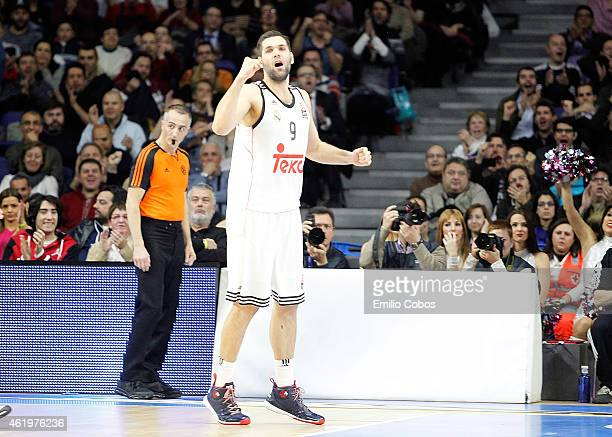 Felipe Reyes #9 of Real Madrid in action during the Euroleague Basketball Top 16 Date 4 game between Real Madrid v Panathinaikos Athens at...