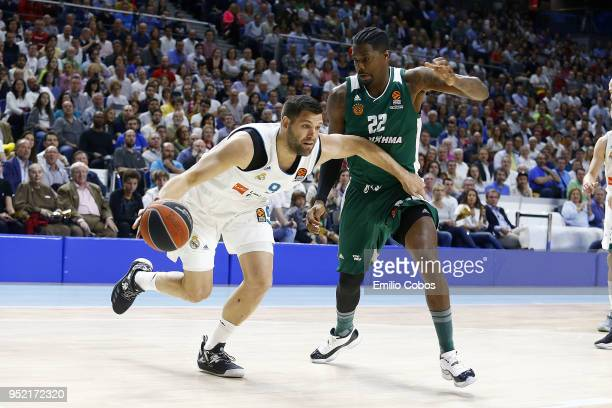 ff528f27e81 Felipe Reyes #9 of Real Madrid in action during the Turkish Airlines  Euroleague Play Offs. Real Madrid v Panathinaikos Superfoods Athens ...