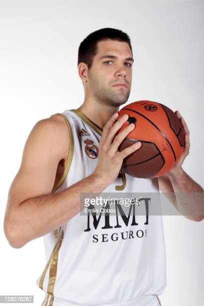 Felipe Reyes, #9 of Real Madrid poses during the 2011/12 Turkish Airlines Euroleague Basketball Media day at Polideportivo Valle de las Canas on...