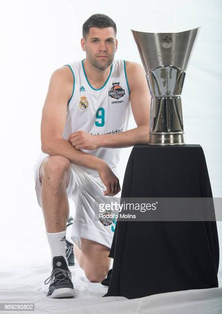 Felipe Reyes #9 of Real Madrid poses during the 2018 Turkish Airlines EuroLeague F4 Teams Captains with Champion Trophy Photo Session at Hyatt...