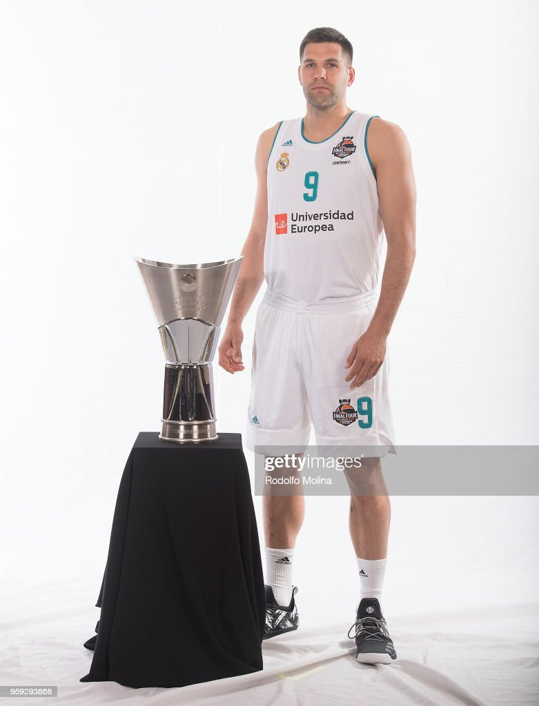 Felipe Reyes, #9 of Real Madrid poses during the 2018 Turkish Airlines EuroLeague F4 Teams Captains with Champion Trophy Photo Session at Hyatt Regency Belgrade Hotel on May 16, 2018 in Belgrade, Serbia.