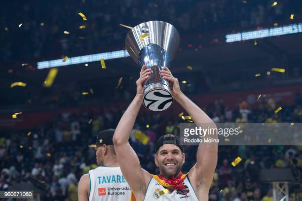 Felipe Reyes #9 of Real Madrid poses with Champion trophy after the 2018 Turkish Airlines EuroLeague F4 Championship Game between Real Madrid v...