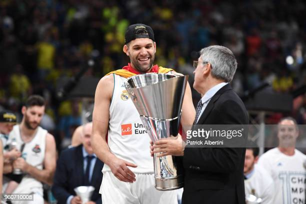 Felipe Reyes, #9 of Real Madrid receiving the trophy from Jordi Bertomeu, president and CEO of Euroleague Basketball at the end of 2018 Turkish...
