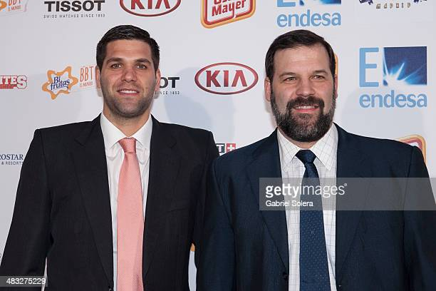 Felipe Reyes and Alfonso Reyes attend the 'Gigantes del Basket' Awards 2014 at TClub on April 7 2014 in Madrid Spain