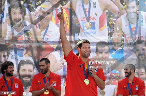 Felipe Reyes celebrates after winning the EuroBasket 2015 final at Callao square on September 21, 2015 in Madrid, Spain. Spain beat Lithuania 80-63...
