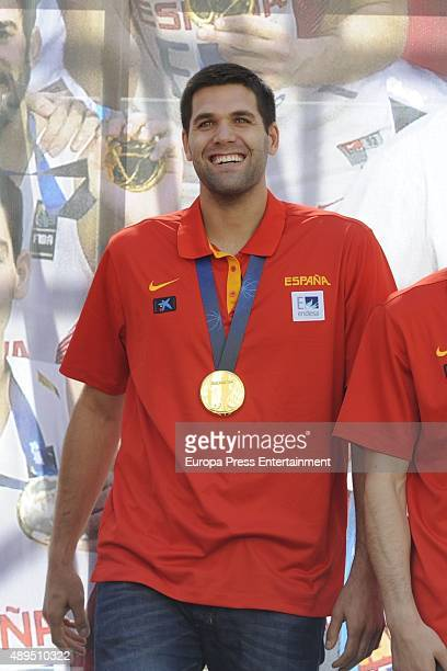 Felipe Reyes celebrates after winning the EuroBasket 2015 final on September 21 2015 in Madrid Spain Spain beat Lithuania 8063 in the final in Lille...