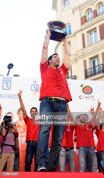 Felipe Reyes celebrates Spain's gold medal victory in the Eurobasket 2011 Tournament in Callao Square on September 19, 2011 in Madrid, Spain.