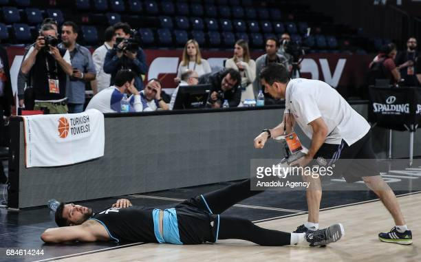 Felipe Reyes of Real Madrid attends a training session ahead of the Turkish Airlines Euroleague Final Four at Sinan Erdem Dome in Istanbul Turkey on...
