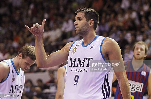 Felipe Reyes of Real Madrid gestures during the Supercopa ACB Final match between Real Madrid and Barcelona Regal at Principe Felipe pavilion on...