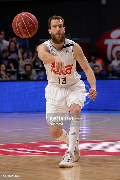 felipe reyes of Real Madrid in action during the play off round 3 match between FC Barcelona Lassa and Real Madrid at Barclaycard Center in Madrid...