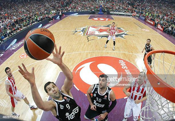 Felipe Reyes of Real Madrid jump for the ball during the 20142015 Turkish Airlines Euroleague Top 16 round one match between Crvena Zvezda Telekom...