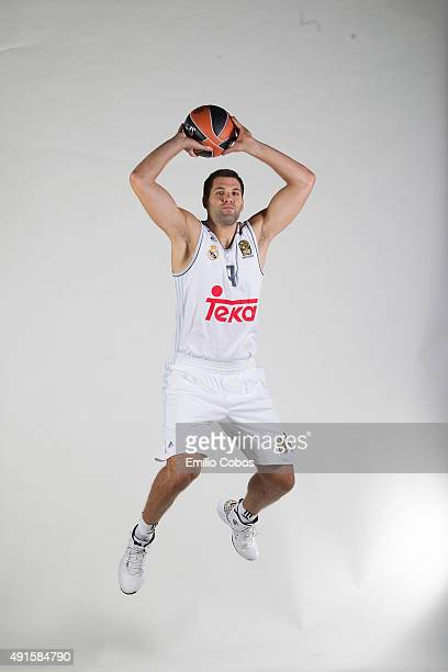 Felipe Reyes of Real Madrid poses during the 2015/2016 Turkish Airlines Euroleague Basketball Media Day at Polideportivo Valle de Las Casas on...