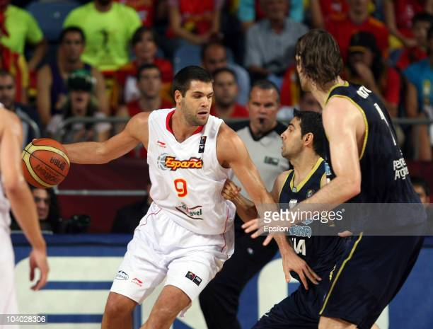 Felipe Reyes of Spain in action at the 2010 World Championships of Basketball during the game between Argentina and Spain on September 12, 2010 in...