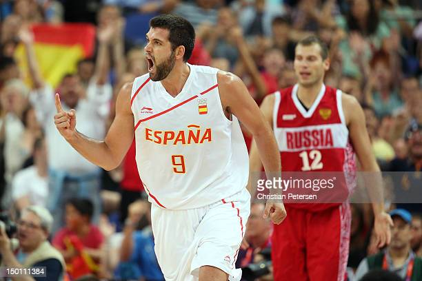 Felipe Reyes of Spain reacts in the second half against Sergey Monya of Russia during the Men's Basketball semifinal match on Day 14 of the London...