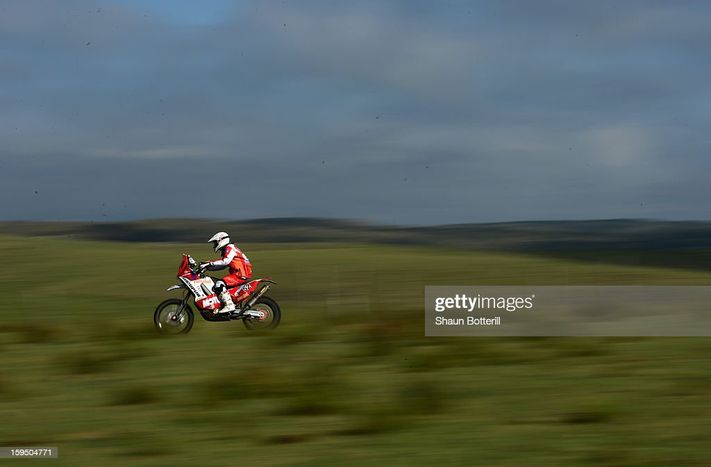 Felipe Rios of team KTM Peru Rally competes in stage 9 from Tucuman to Cordoba during the 2013 Dakar Rally on January 14 in Tucuman, Argentina.