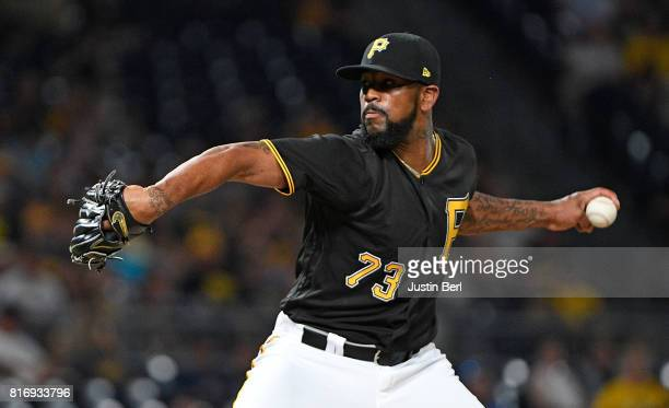 Felipe Rivero of the Pittsburgh Pirates delivers a pitch in the ninth inning during the game against the Milwaukee Brewers at PNC Park on July 17...