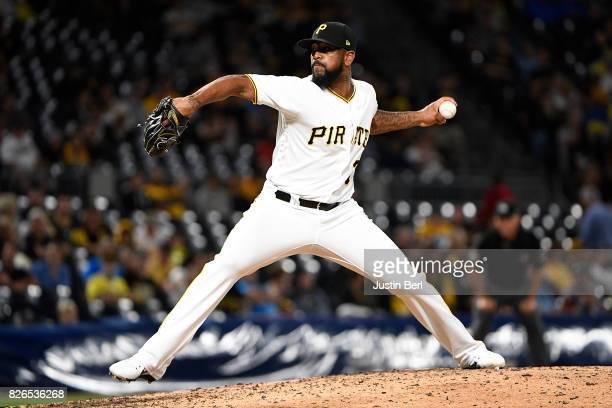 Felipe Rivero of the Pittsburgh Pirates delivers a pitch in the ninth inning during the game against the San Diego Padres at PNC Park on August 4...