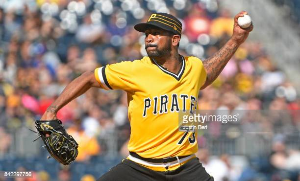 Felipe Rivero of the Pittsburgh Pirates delivers a pitch in the ninth inning during the game against the Cincinnati Reds at PNC Park on September 3...