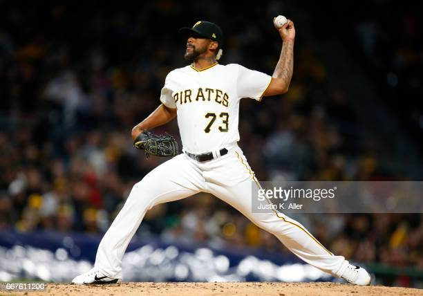 Felipe Rivero of the Pittsburgh Pirates in action against the Atlanta Braves at PNC Park on April 8 2017 in Pittsburgh Pennsylvania