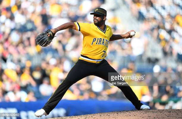 Felipe Rivero of the Pittsburgh Pirates in action against the Atlanta Braves at PNC Park on April 9 2017 in Pittsburgh Pennsylvania