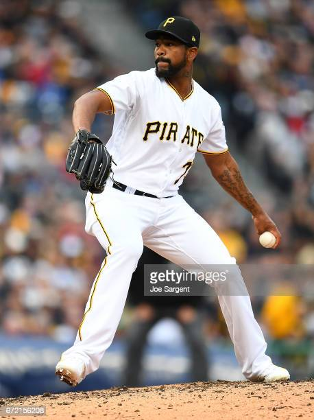 Felipe Rivero of the Pittsburgh Pirates in action against the New York Yankees at PNC Park on April 22 2017 in Pittsburgh Pennsylvania