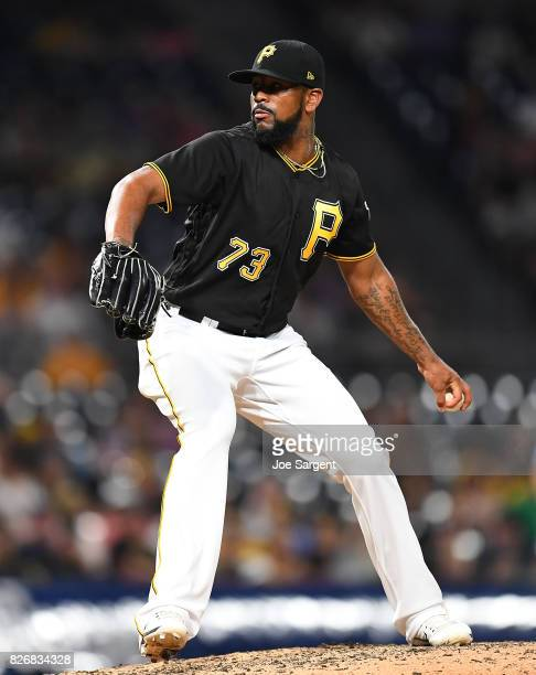 Felipe Rivero of the Pittsburgh Pirates in action during the game against the Milwaukee Brewers at PNC Park on July 18 2017 in Pittsburgh Pennsylvania