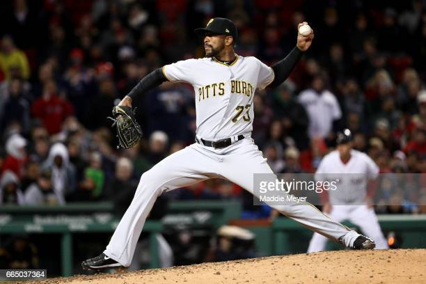 Felipe Rivero of the Pittsburgh Pirates pitches against the Boston Red Sox during the ninth inning at Fenway Park on April 5 2017 in Boston...