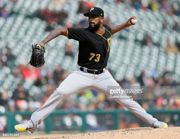 Felipe Rivero of the Pittsburgh Pirates pitches against the Detroit Tigers during the ninth inning of game one of a doubleheader at Comerica Park on...