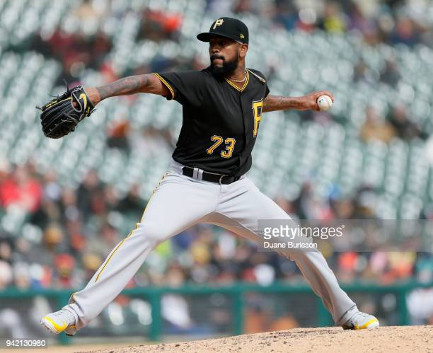 Felipe Rivero of the Pittsburgh Pirates pitches against the Detroit Tigers during game one of a doubleheader at Comerica Park on April 1 2018 in...