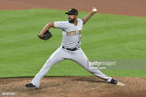 Felipe Rivero of the Pittsburgh Pirates pitches during a baseball game against the Baltimore Orioles at Oriole Park at Camden Yards on June 7 2017 in...