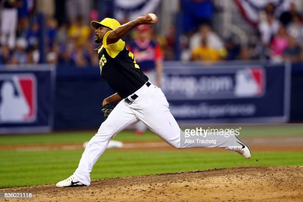 Felipe Rivero of the Pittsburgh Pirates pitches during the 2017 Little League Classic Game against the St Louis Cardinals at Historic Bowman Field on...