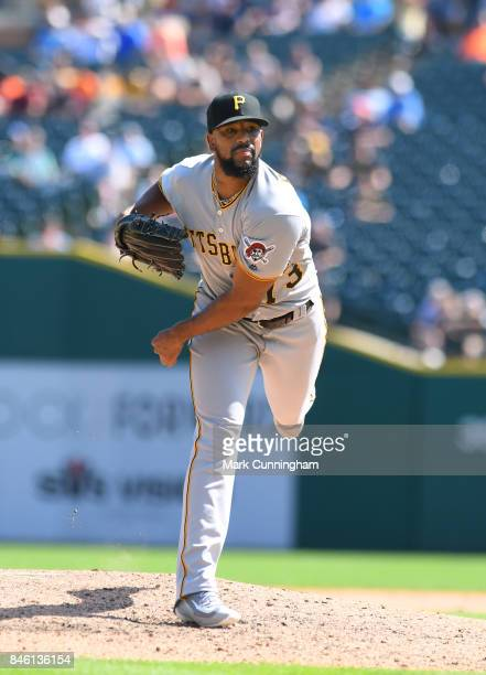 Felipe Rivero of the Pittsburgh Pirates pitches during the game against the Detroit Tigers at Comerica Park on August 10 2017 in Detroit Michigan The...