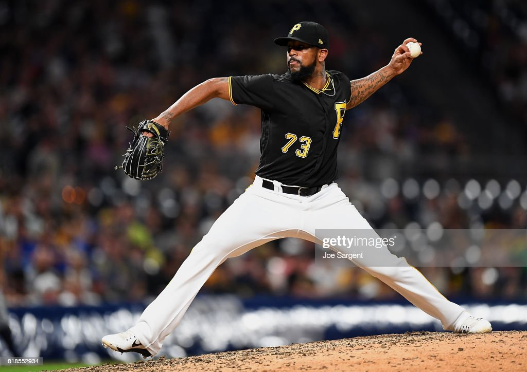 Felipe Rivero #73 of the Pittsburgh Pirates pitches during the ninth inning against the Milwaukee Brewers at PNC Park on July 18, 2017 in Pittsburgh, Pennsylvania.