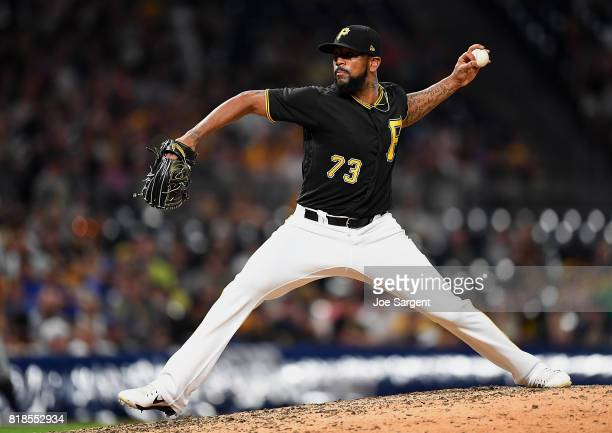 Felipe Rivero of the Pittsburgh Pirates pitches during the ninth inning against the Milwaukee Brewers at PNC Park on July 18 2017 in Pittsburgh...